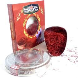 2 گرم زعفران فندخت در ظرف خاتم و جعبه مطابق شکل (2 گرم زعفران سرگل)