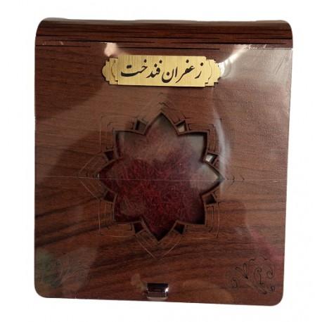 ده مثقال زعفران فندخت در بسته بندی شکیل با ظرف خاتم و حفاظ چوبی مطابق عکس (46گرم زعفران سرگل)