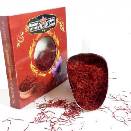 دو مثقال زعفران فندخت در بسته بندی کارتی (9.2 گرم زعفران سرگل)